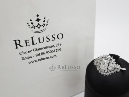 Anello con diamanti taglio misto per 1,90ct in oro bianco foto1