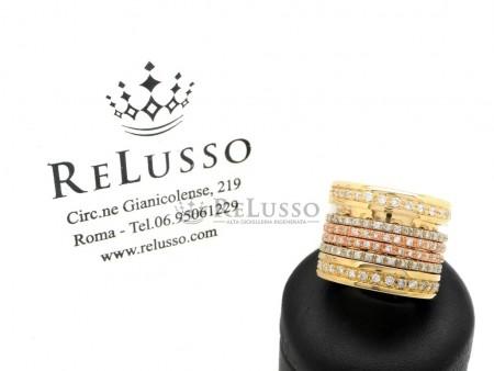 Anello a fascia con 2,00ct di diamanti in oro bianco, giallo e rosa foto1