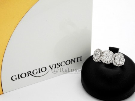 Anello Giorgio Visconti con pavé di diamanti per 1,00ct in oro bianco FOTO1