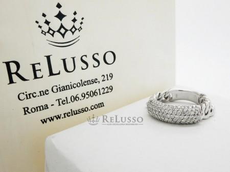 Anello morbido in oro bianco con pavé di diamanti per 0,50ct foto6