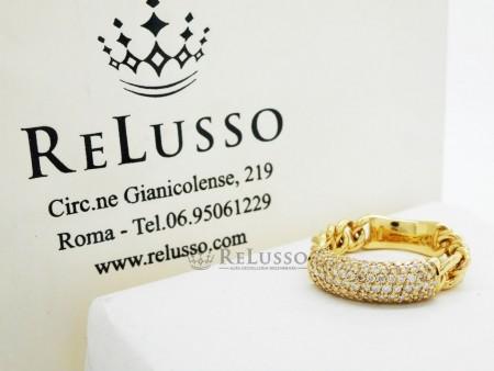 Anello morbido in oro giallo con pavé di diamanti per 0,50ct foto1