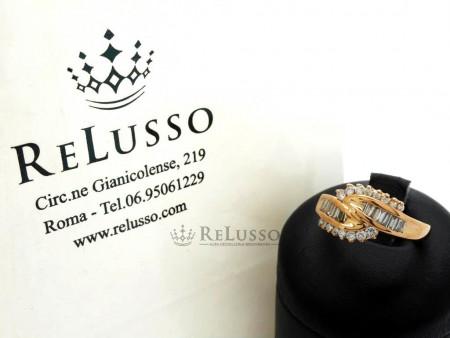Anello in oro rosa con diamanti taglio brillante e baguette per 0,80ct foto1