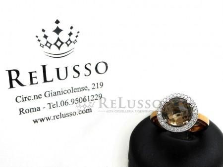 Anello con quarzo fumè da 2,50ct e diamanti in oro rosa 18kt foto1