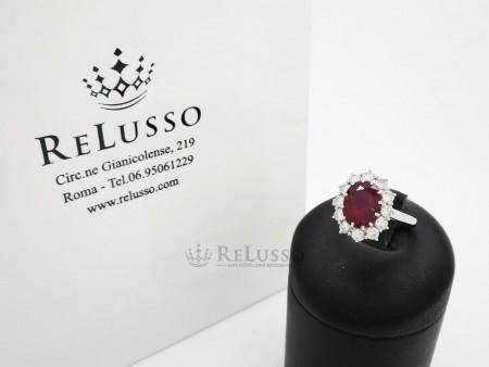 Anello con Rubino da 2,10ct e diamanti in oro bianco 18kt foto1