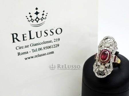 Anello con rubino centrale da 1ct e diamanti in oro 18kt foto6