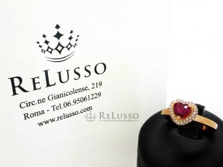 Anello con rubino a cuore da 0,91ct e diamanti per 0,40ct in oro rosa foto1
