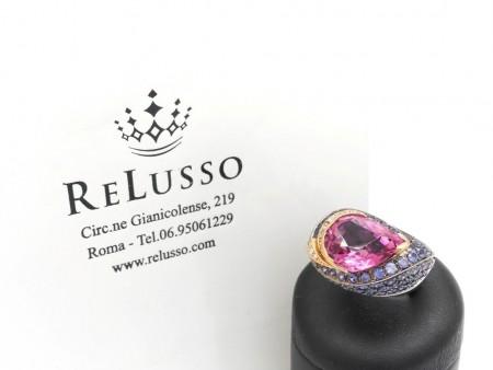 Anello con Tormalina rosa, zaffiri e diamanti in oro 18kt foto1