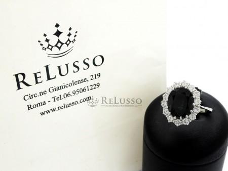 Anello con Zaffiro centrale da 5,13ct e diamanti per 1,40ct in oro bianco foto1