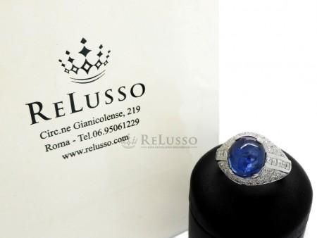 Anello con Zaffiro cabochon da 5,80ct e pavé di diamanti per 2,80ct foto1