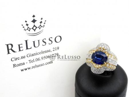 Anello con zaffiro centrale da 4,18ct e diamanti taglio misto per 3,90ct in oro foto1