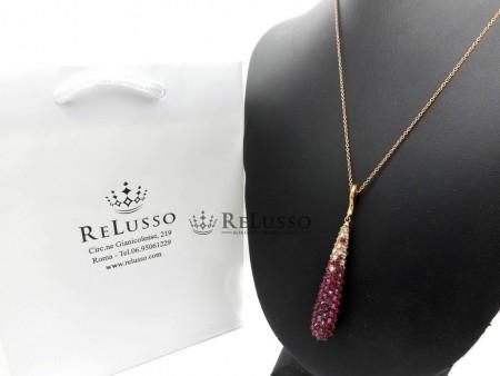 Collana con pendente Arsublime in oro rosa diamanti e rubini foto1