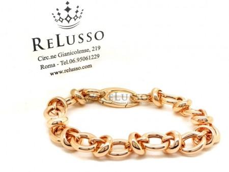 Bracciale ad anelli in oro rosa 18kt da 22cm foto1