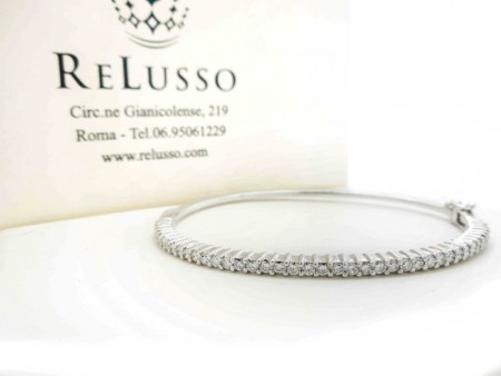 Bracciale rigido con 1,20ct di diamanti in oro bianco foto1