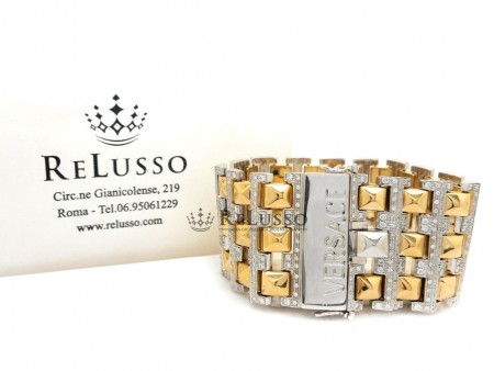 Bracciale Versace modello Cleopatra con 5,ooct di diamanti in oro giallo e bianco foto1