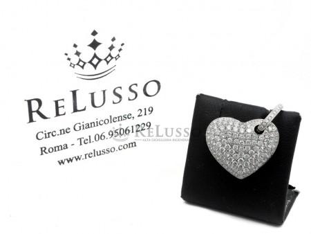 Ciondolo Cuore con pavé di diamanti per 1,70ct in oro bianco 18kt foto1
