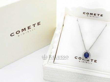 Collana Comete Classic con zaffiro centrale e diamanti in oro bianco foto1