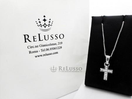 Collana con croce in oro bianco e diamanti per 0,24ct foto1