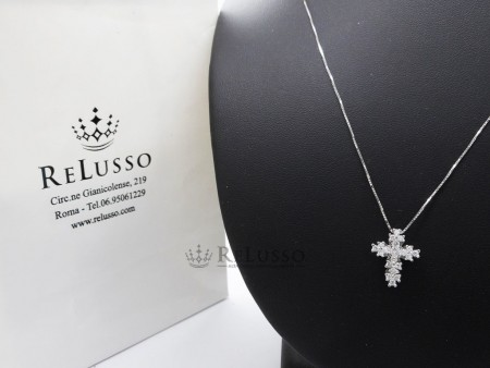 Collana con croce in oro bianco e diamanti per 0,25ct H Color foto1