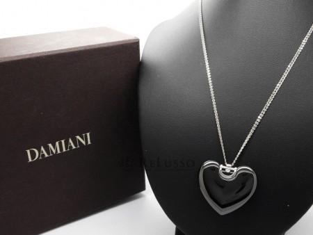 Collana cuore Damiani D.Icon in ceramica nera, oro bianco e diamante FOTO3