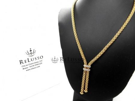 Collana Fope Maori in oro giallo con 0,09ct di diamanti foto1