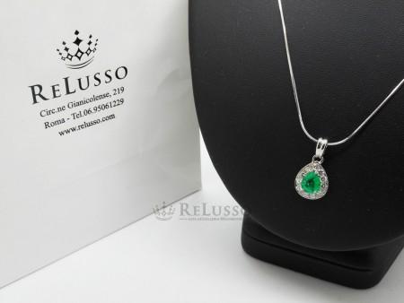 Collana in oro bianco e pendente con smeraldo da 1,26ct e diamanti per 1,10ct foto1