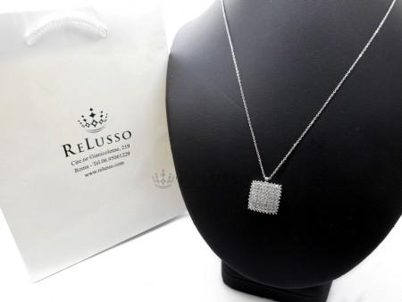Collana con pendente quadrato e pavé di diamanti da 0,90ct in oro bianco foto11