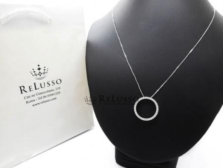 Collana con pendente rotondo in oro bianco e 0,40ct di diamanti foto1