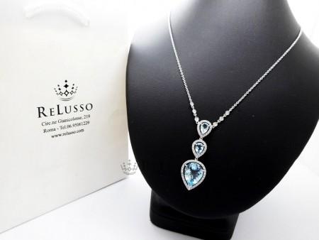 Collana con pendente in oro bianco, diamanti ed acquamarine per 6,20ct. foto1