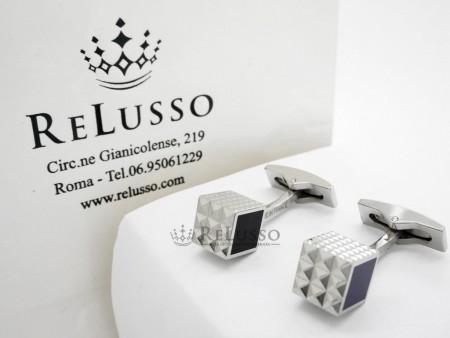 Gemelli S. T. Dupont in palladio e smalto collezione Cubi foto1