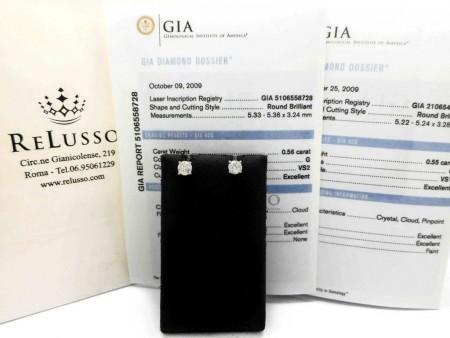 Orecchini punto luce in oro bianco da 1,11ct G color certificati GIA foto1