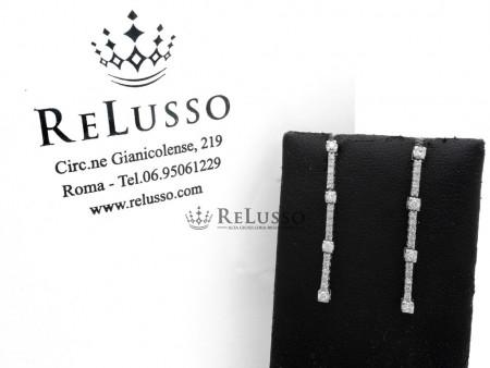 Orecchini pendenti con 0,30ct di diamanti in oro bianco foto1