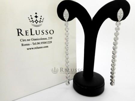 Orecchini pendenti con 1,60ct di diamanti in oro bianco foto1