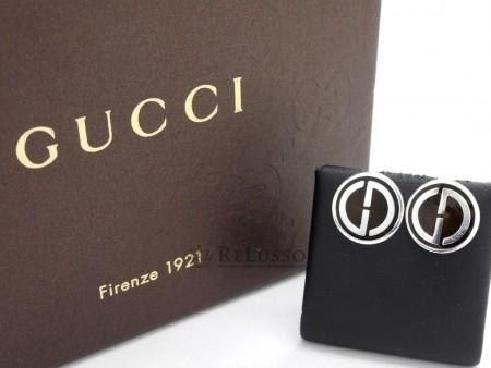 Orecchini tondi Gucci in argento e smalto foto1