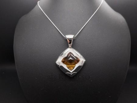 Ciondolo bulgari collezione Piramide in oro bianco e quarzo citrino foto1