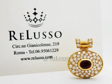 Pendente ovale in oro giallo con rubino birmano da 1,40ct e diamanti per 3,00ct foto1