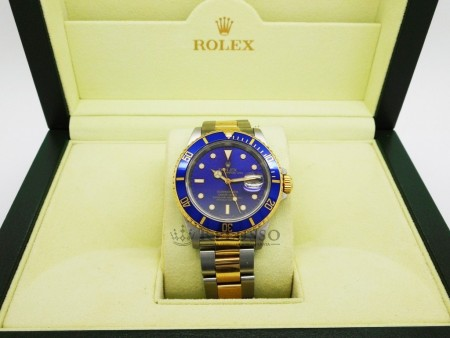 Rolex Submariner purple blue dial ref.16613 acciaio e oro foto5