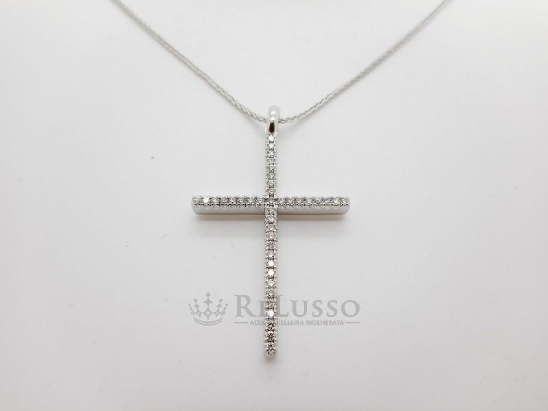 foto ufficiali 152ee b56ea Collana Damiani con croce in oro bianco e diamanti per 0,40ct