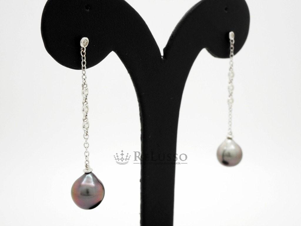 Tahiti Oro Diamanti Perle E Con Orecchini Pendenti In Damiani Bianco sxhQdtrC