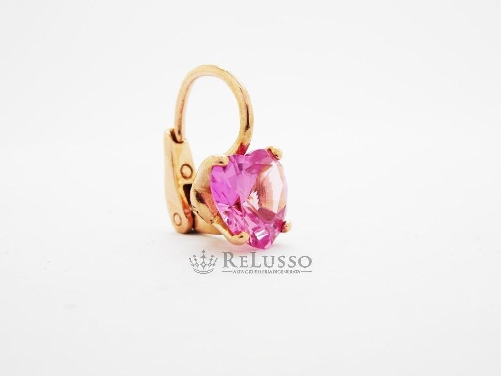 vendita scontata vendibile comprare in vendita Orecchino Dodo 100% Amore in oro rosa 375 e zaffiro Rosa a cuore